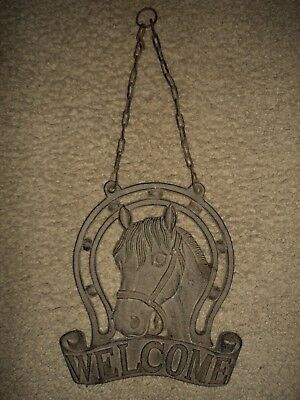 Rustic Horse Head Decor. Welcome Hanging Plaque.