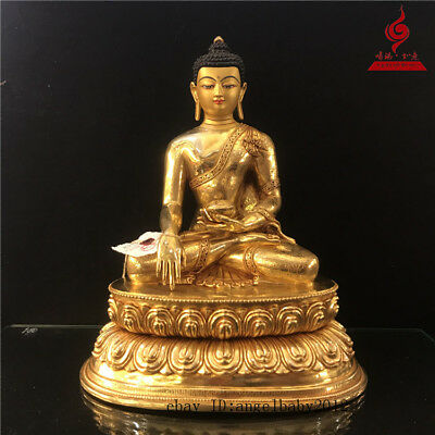 "12"" China old antique bronze copper gilt Buddhism Shakya Muni Buddha statue"