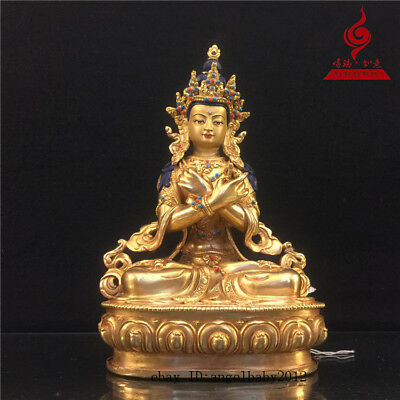 "9"" China old antique copper gilt Buddhism inlay Turquoise Buddha statue"