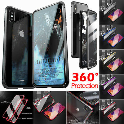 Back+Front Tempered Glass Magnetic Adsorption Metal Aluminum 360 Full Case Cover