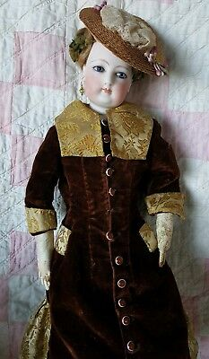 "16"" ANTIQUE FRENCH FASHION LADY POUPEE FRANCOIS GAULTIER  2  c.1860 DOLL w/TRUNK"
