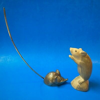 Brass Mouse - Long-Tailed Paper Spike / Holder or Paperweight - Lucy's Mate