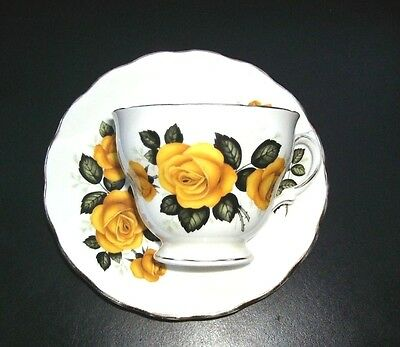 Vintage Royal Vale Yellow Roses Teacup and Saucer - Bone China - Made in England