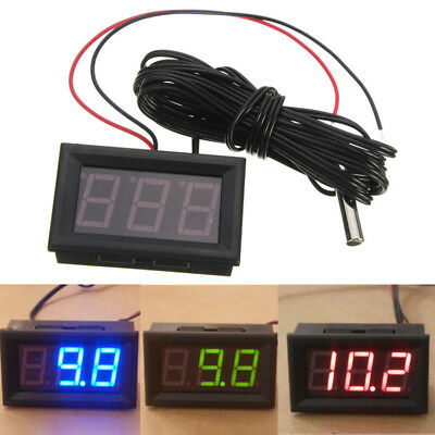 New 12V LED Display Digital Temperature Meter -50°C~+ 110°C Thermometer Sensor