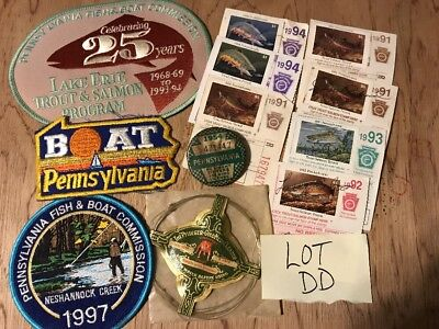 Fishing Fish Boat Commission Patches Pennsylvania Trout Salmon 1954 License PA