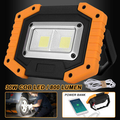 2 Cob 30w 800lm Rechargeable Ip65 Led Security Flood Light Spot Lamp Outdoor NEW