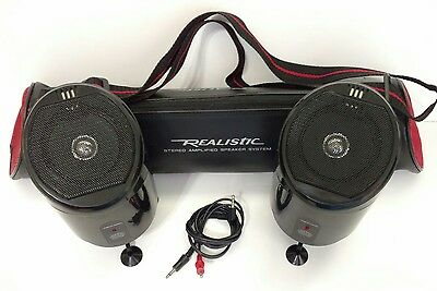 RARE Vintage REALISTIC 40-1303 Stereo Amplified SPEAKER SYSTEM w/ Carrying Case