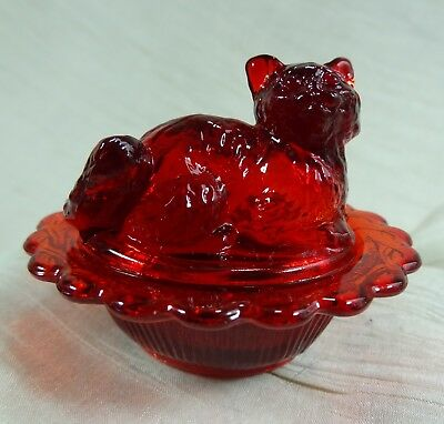 Cat on Nest Salt Dip Red Glass Kitty on Nest Kitten Salt