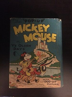 Rare Mickey Mouse Ye Olden Days 1930 Blue Ribbon Popup Mini Book Antique Early