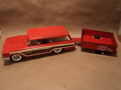 Vintage Buddy L Ford Country Squire Woody Station Wagon & Teepee Camper - Steel