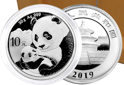 2019 Chinese Panda 10 Yuan 30 grams of .999 Solid Silver Brilliant Uncirculated