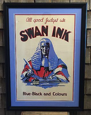 RARE Antique ORIGINAL ~ All Good Judges Use SWAN INK ~ Advertising Sign Framed