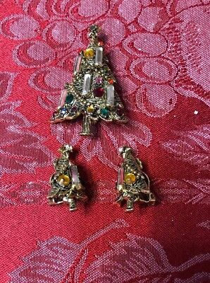 9f39942de Vintage Hollycraft Set Christmas Tree Pin Brooch & Clip Earrings Rhinestone