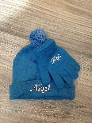 Girl's Angel (Silver) Blue Knit Hat w Matching Gloves New