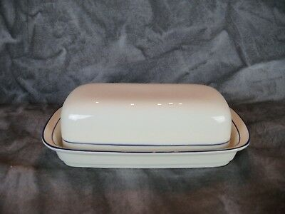 Lenox Chinastone FOR THE BLUE Quarter Pound Butter Dish, Excellent