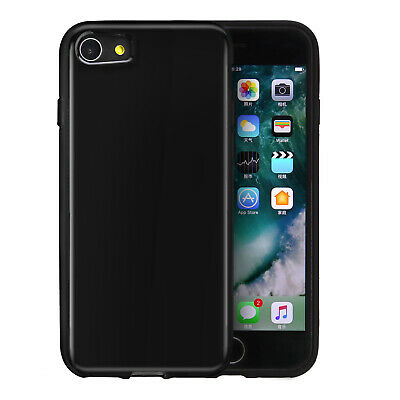 For Apple iPhone 7/8 Gloss Jet BLACK Rubber Skin Phone Cover Cases Accessory