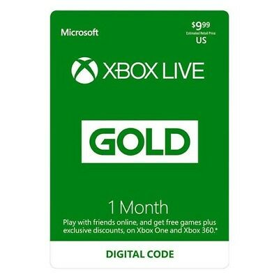 Xbox live Gold One (1) Month Official Subscription - Fast Delivery XBOX One 360