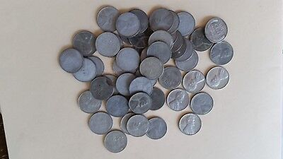 Us 1943 Steel Penny Roll, Steel Wheat Lincoln Cents Coins