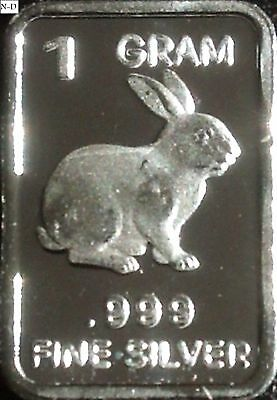 1 Gram .999 Fine Solid Silver Bullion (Uncirculated) Mini Art-bar: BUNNY RABBIT