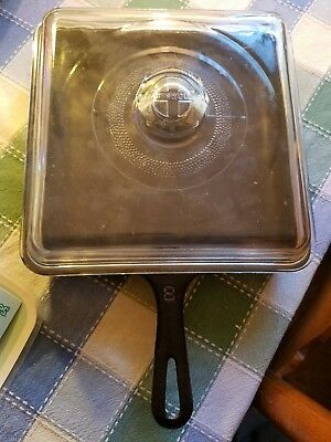 Griswold Vintage Cast Iron Square #8 Fry Skillet with glass lid, RARE