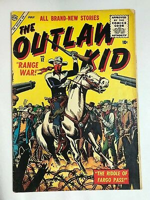 1956 Marvel Atlas OUTLAW KID #12 * Classic Maneely RANGE WAR Cover! Nice!