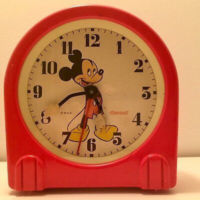 Rare Color Ingersoll Mickey Mouse Antique Windup Early Clock 1940 Vintage Old