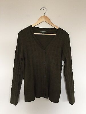 0517b27490 Eddie Bauer Womens Cable Knit Cardigan Sweater Green V Neck Size XXL 2XL