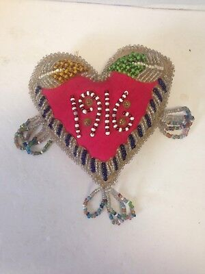 "Vintage Handmade 5 1/2"" Mini Heart Pillow With Beadwork One Of A Kind 1916"