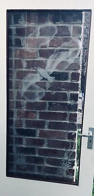 Vintage Seagull Seaside White Etched Glass Door  Beach House~Beach~Brass Handle