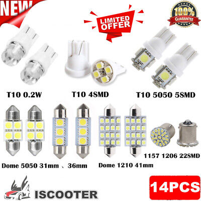 14PCS White LED Interior Package Kit For T10&31mm Map Dome License Plate Lights@