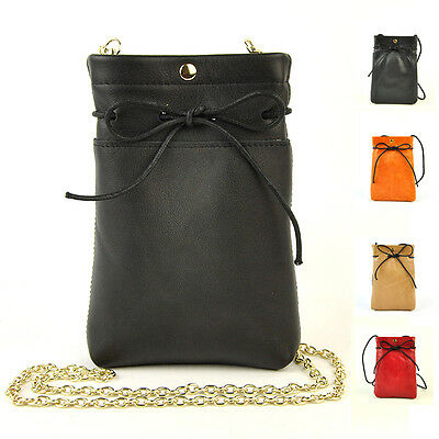 Women Genuine Leather Small Shoulder Bag Mobile Cellphone Purse Lady Bow Handbag