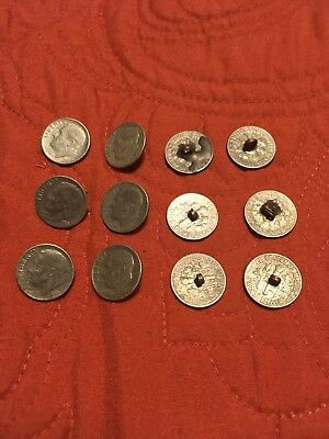 Collection Of 12 Antique Navajo Made Coin Buttons - Silver Roosevelt Dimes