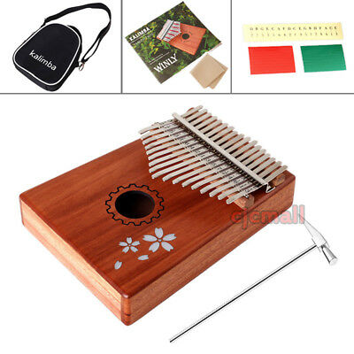 17 Key Kalimba Single Board Mahogany Thumb Piano Mbira Keyboard Instrument US