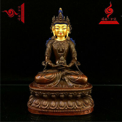 "8"" China Tibet old bronze copper gilt Buddhism Amitabha Longevity Buddha statue"