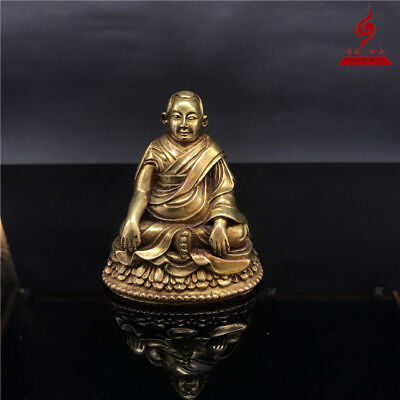 China Tibet old antique copper gilt Buddhism Longchenpa Buddha statue