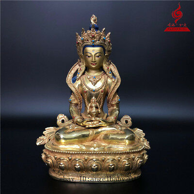 "9"" China Tibet old copper gilt inlay Turquoise Amitabha Longevity Buddha statue"