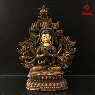 "9"" China old antique copper gilt inlay Turquoise Buddhism Cunte Buddha statue"
