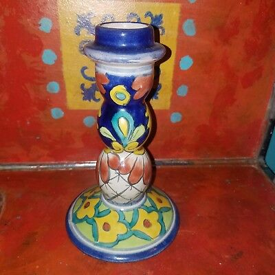 Vintage Mexican Talavera Pottery Candle Holder