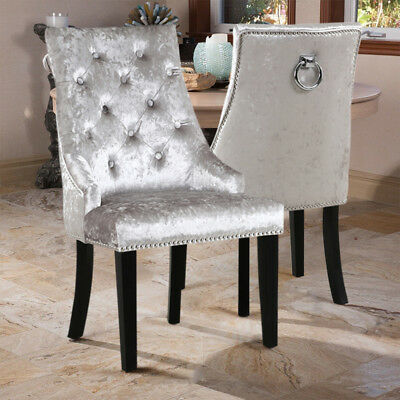 2 pieces Sliver Antique Dining Chair High Back Backrest kitchen Table Chairs