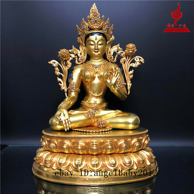 "20"" China old antique copper gilt inlay Turquoise White Tara Buddha statue"