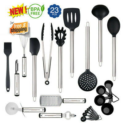 23Pcs Set Kitchen Cooking Utensil Set Tools Nonstick Cookware Stainless Steel US