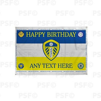 Leeds United FC Official Personalised Retro Badges Birthday Flag Banner LB007
