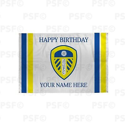 Leeds United FC Official Personalised Crest Stripes Birthday Fabric Banner LB008