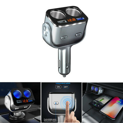 New Car Charger USB Quick Charger Cigarette Lighter Sockets Splitter Power Plug