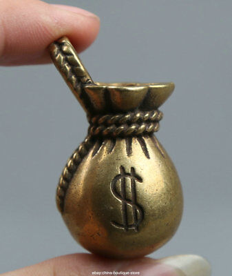 45MMCollect Small Curio Chinese Fengshui Bronze Soliciting Money Wealth Pendant