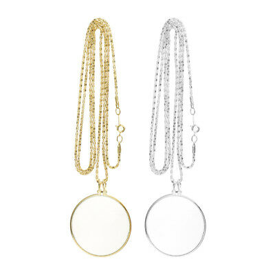 2Pcs Magnifying Glass on Necklace Chain Reading Map Magnifier Loupe Pendant