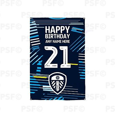 Leeds United FC Official Personalised Away Shirt 2019 Birthday Banner Flag LB014