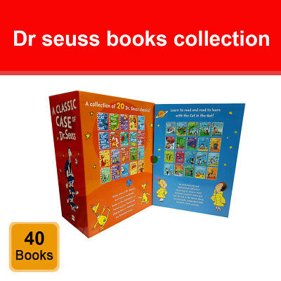 Dr Seuss Classic Case & Cat in the hat learning library 40 books collection set