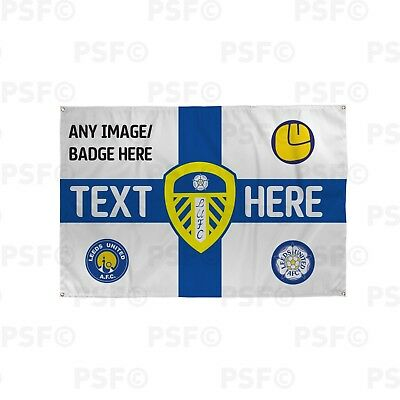 Leeds United FC Official Personalised St George Flag Blue Crested Banner LB016