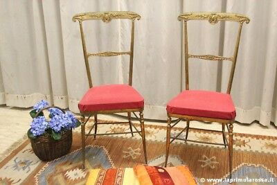 Modernariato Coppia Di Sedie Vintage In Ottone Two Vintage Solid Brass  Chairs